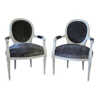 Louis XVI Style Painted and Upholstered Open Armchairs in Smoke Gray Velvet - a Pair