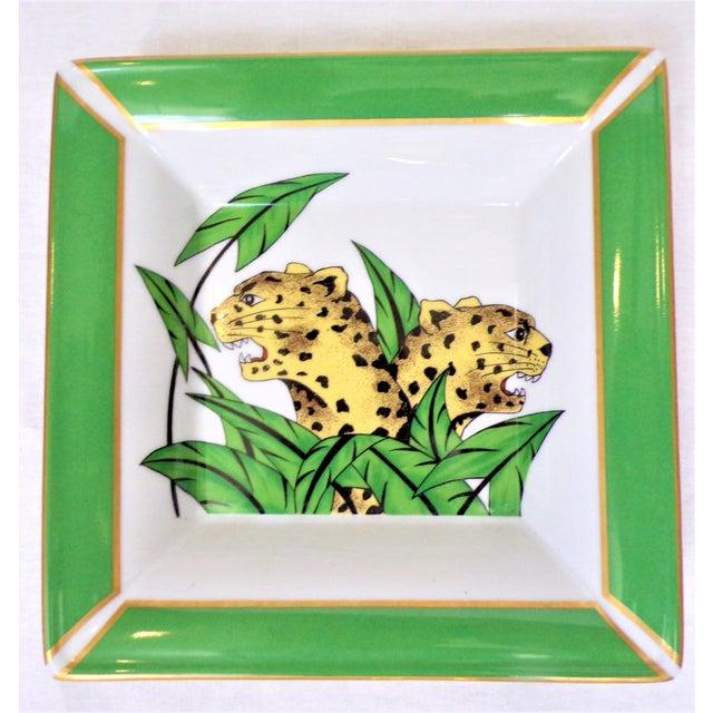 Vintage Philippe Deshoulieres Limoges Leopard Porcelain Trinket Tray / Catchall For Sale - Image 4 of 10