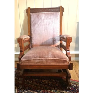 Early 20th Century Antique Pink Velvet Rocking Chair Preview