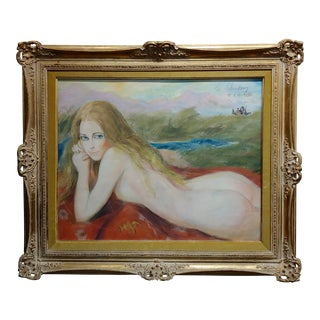 "1970s Vintage ""Nude Blonde Laying on a Outdoor Field"" Painting by Sheldon C Schoenberg For Sale"