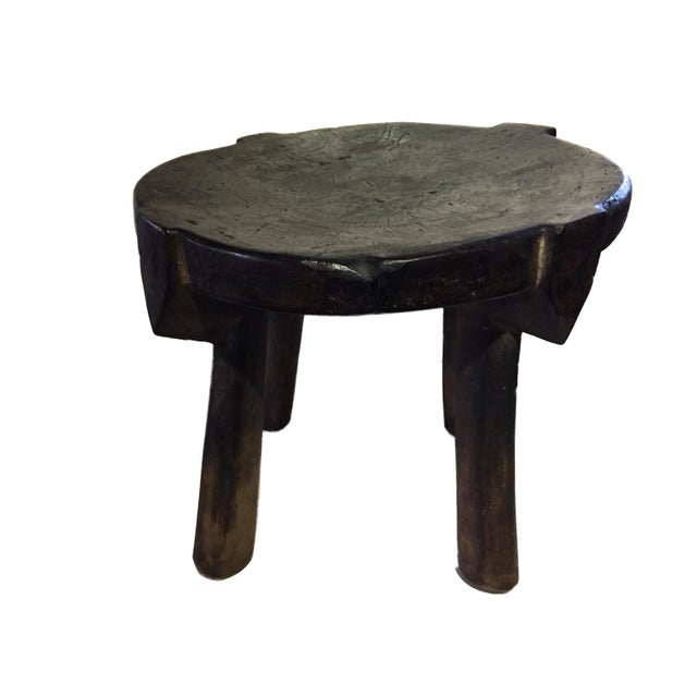 """African Old Carved Wood Milk Stool Hehe Gogo People Tanzania 10.25"""" H For Sale In New York - Image 6 of 12"""