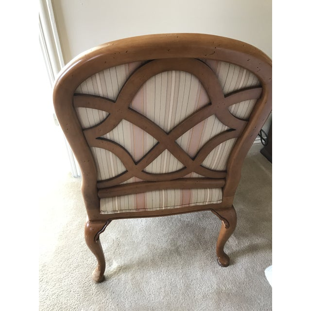 Hekman Furniture Heckmann Furniture Carved Wood Upholstered Arm Chair For Sale - Image 4 of 6