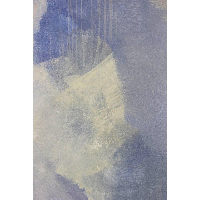 A large and impressive contemporary acrylic on canvas abstract painting in a palette of pale blue, lilac and green by...