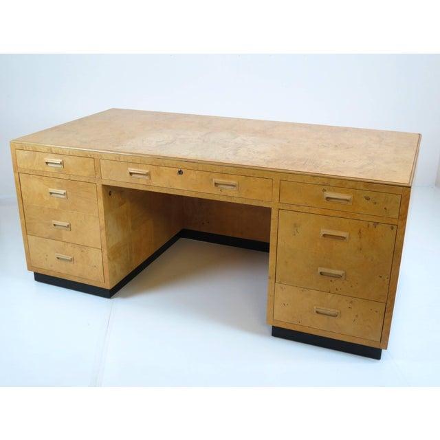 Tan Henredon Scene Two Executive Desk in Burl Wood For Sale - Image 8 of 12