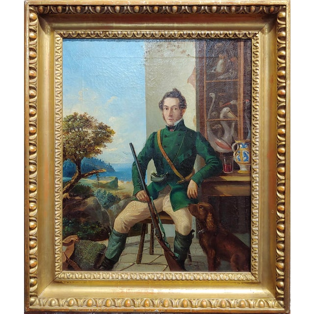 Portrait of a Hunter w/His Dog-19th century Italian school-Oil painting oil painting on canvas circa 1840s Frame 17.5 x...