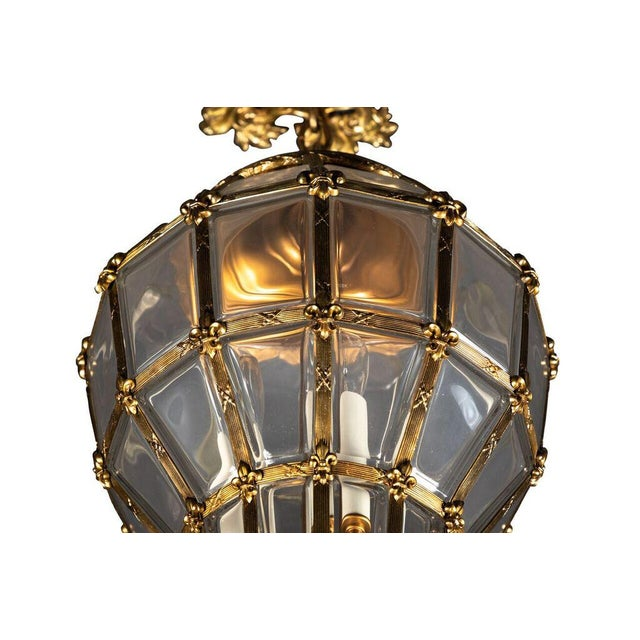 Metal Gilt Hanging Lantern With Ceiling Escutcheon For Sale - Image 7 of 10