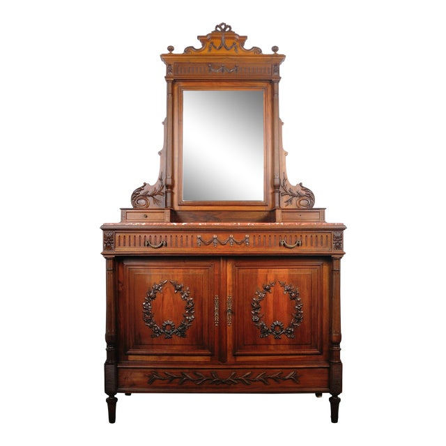 1900's French Walnut Vanity Dresser with Red Italian Marble Top For Sale