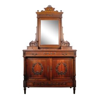 Antique French Walnut Vanity Dresser With Red Italian Marble Top For Sale