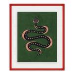 Apple the Snake by Willa Heart in Dark Red Acrylic Shadowbox, Medium Art Print