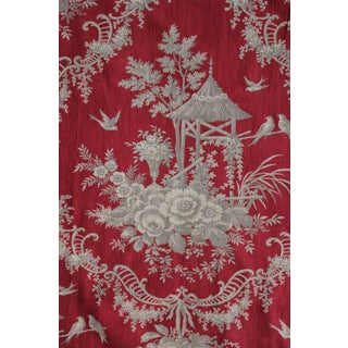 Antique 1870 Rococo Chinoiserie Design Red Ground & Gray Printed Toile Fabric For Sale