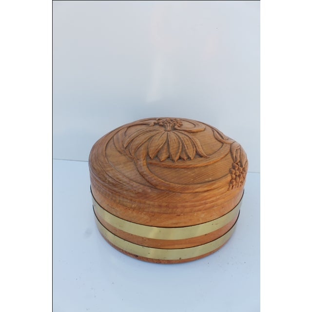 Round Hand-Carved Wood & Brass Box - Image 8 of 8