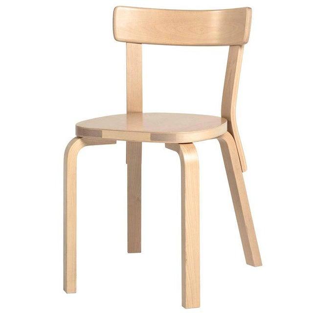 Cream Authentic Chair 69 in Birch by Alvar Aalto & Artek For Sale - Image 8 of 8