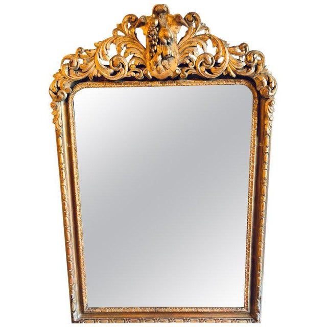 Large Carved Rococo Wall / Console Mirror W. Grape and Scroll Design For Sale - Image 12 of 12