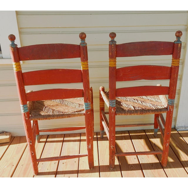 Vintage Painted Mexico Folk Art Rush Seat Chairs - a Pair For Sale In San Antonio - Image 6 of 11