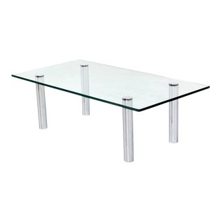 Mid Century Modern Chrome Cylinder Legs Glass Rectangular Coffee Table by Pace For Sale