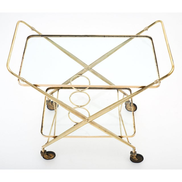 Vintage French Brass Bar Cart For Sale In Austin - Image 6 of 11