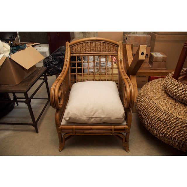 Rattan Wicker Chair & Ottoman W/ Upholstered Seat - Image 7 of 9