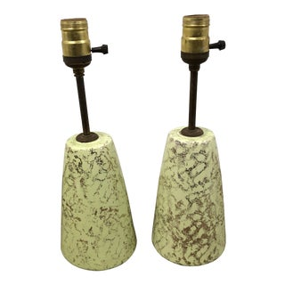 Vintage Mid Century Modern Green Ceramic Table Lamps - a Pair For Sale