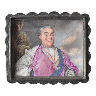 C. 1750 Meissen Snuff Box Lid Miniature Portrait For Sale