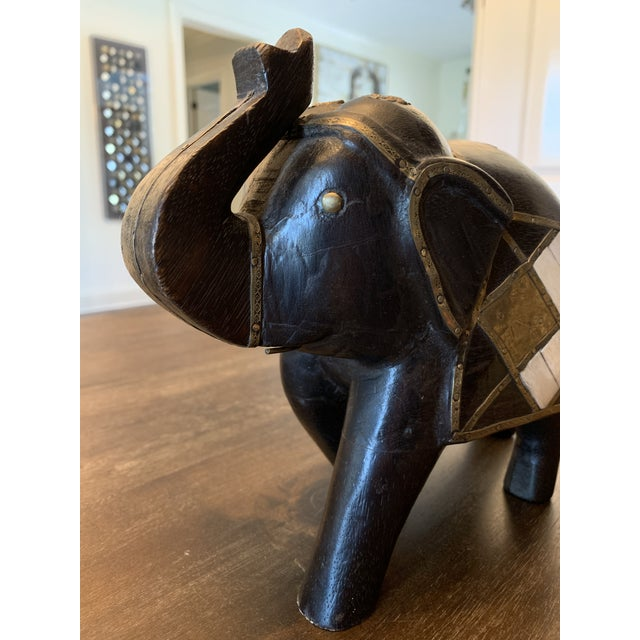 Carved Wood & Brass Elephant Figurine For Sale - Image 10 of 11