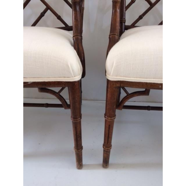 1980s Vintage Faux Bamboo Arm Chairs- A Pair For Sale - Image 11 of 13