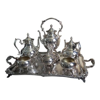 Silver Plated Tea and Coffee Service on Tray For Sale