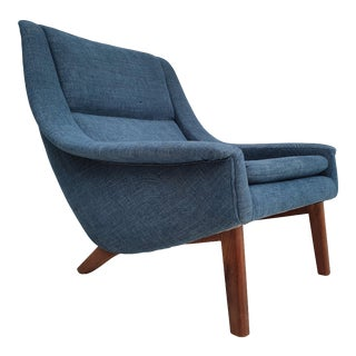 Danish Armchair, Completely Reupholstered, Teak Wood, Cotton, 70s For Sale