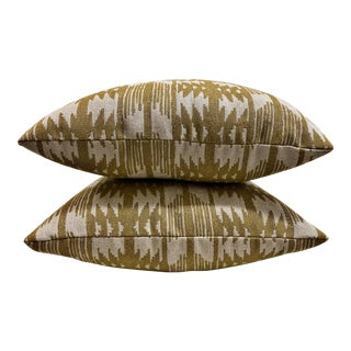 Southwest Sunbrella Mustard Yellow and White Outdoor Pillows - a Pair For Sale