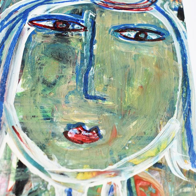 Contemporary Green Abstract Outsider Figural Painting of a Woman For Sale - Image 4 of 5