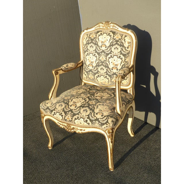 French Provincial Arm Chair With Floral Velvet Upholstery For Sale - Image 5 of 11