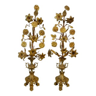 Pair Antique French Gold Bronze Floral Candelabra For Sale