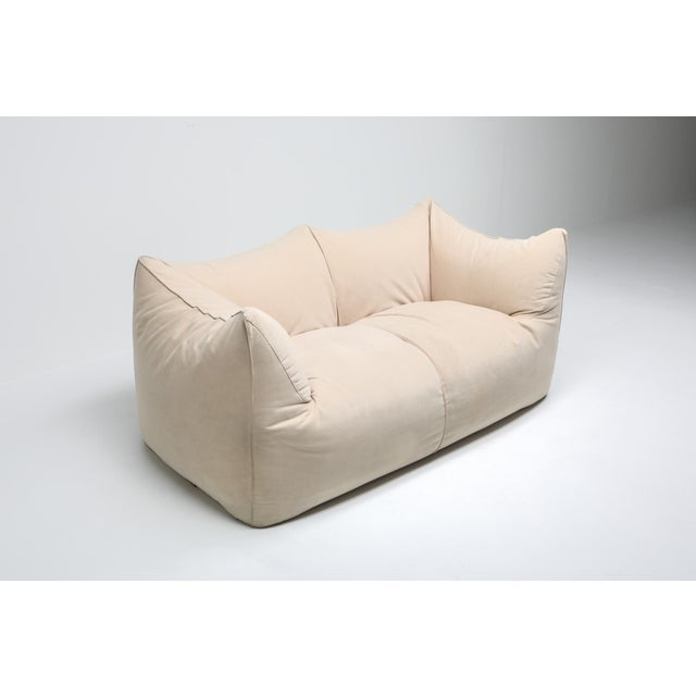 "Textile 1970s Mario Bellini ""Le Bambole"" Two-Seat Couch in Alcantara For Sale - Image 7 of 11"