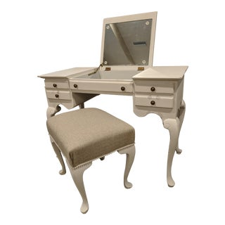 1940s French Country Makeup Vanity Desk With Pearl Accented Chair - 2 Pieces For Sale