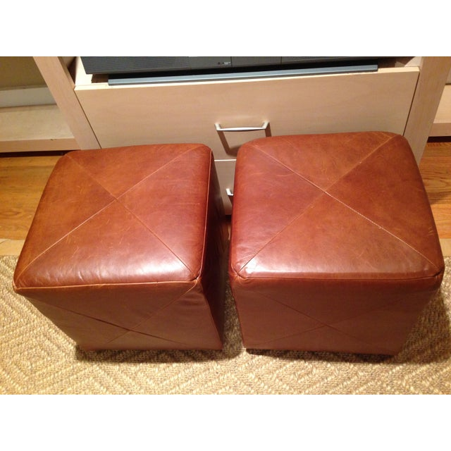 Leather Cube Ottoman - A Pair - Image 4 of 5