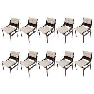 Set of 10 Concha Brazilian Jacaranda Dining Chairs For Sale