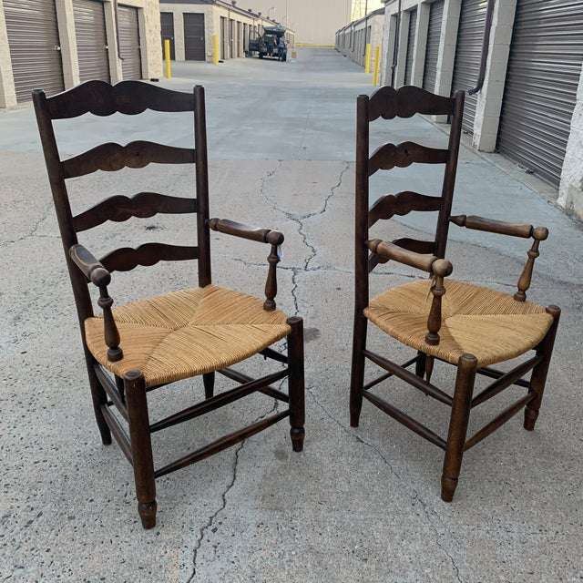 1980s Vintage French Provincial Ladder-Back Armchairs- a Pair For Sale - Image 11 of 13