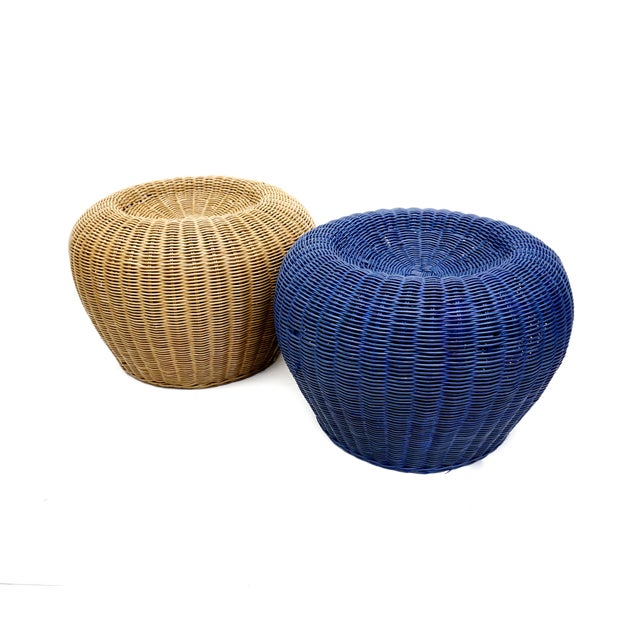 Vintage Woven Wicker Rattan Pouf Footstools Ottomans - Image 10 of 10