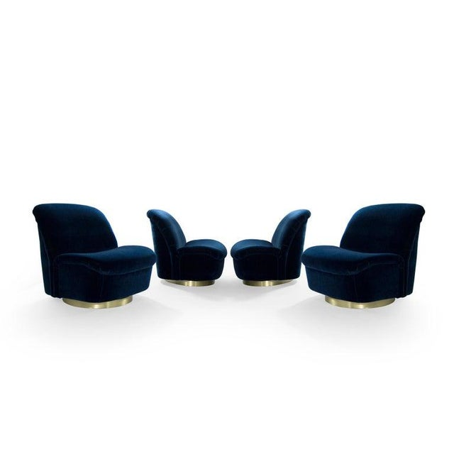 Vladimir Kagan Navy Blue Mohair and Brass Seating Suite by Directional, 1960s - Set of 4 For Sale - Image 4 of 9