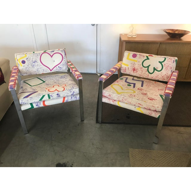 1960s Mid-Century Modern Milo Baughman for Thayer-Coggin Pink and White Pattern Upholstered Club Chairs - a Pair For Sale - Image 11 of 11