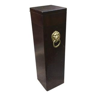 Wood Matchstick Box With Brass Lion
