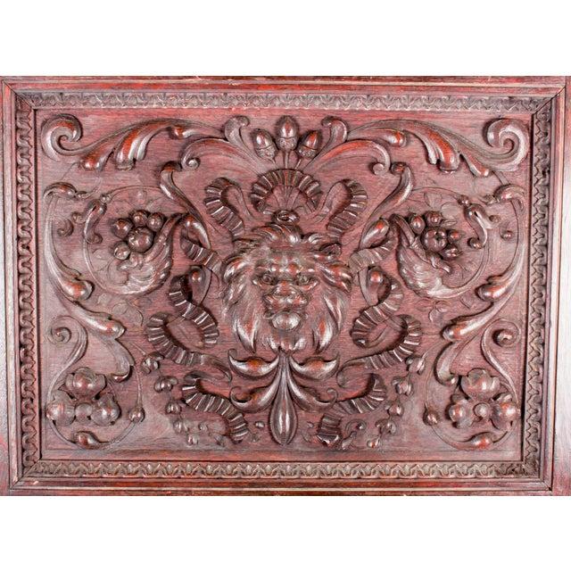 Late 19th Century 1880 Vanderbilt Mansion Original Hand-Carved Oak Lion Wall Panel For Sale - Image 5 of 11