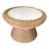 Image of 20th Century Boho Chic Wicker Coffee Table For Sale