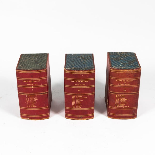 Traditional Red Book Boxes With Blue Interior For Sale - Image 3 of 7