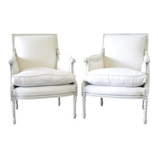 20th Century Louis XVI Style Painted with Natural Linen Bergère Chairs - a Pair