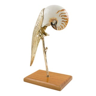 Maitland-Smith Brass and Sea Shell Parrot Bird Sculpture For Sale