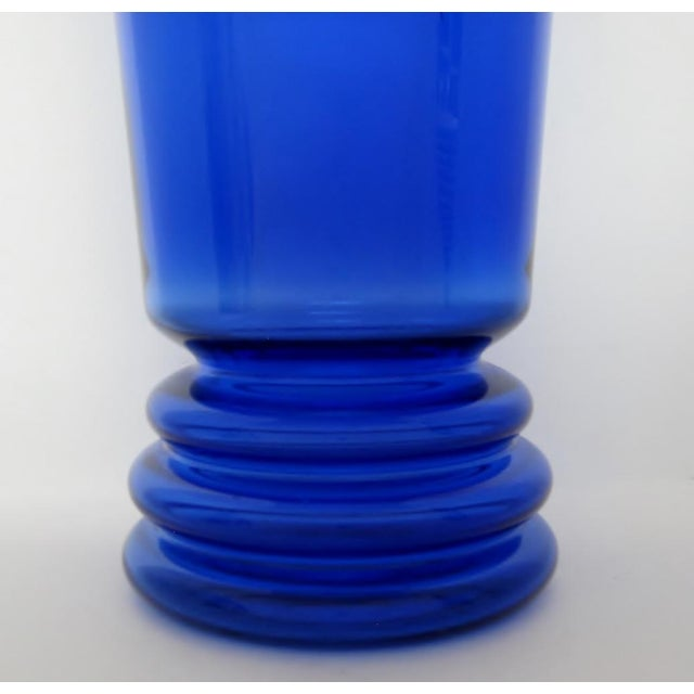 Vintage Cobalt Glass Vase For Sale - Image 4 of 5