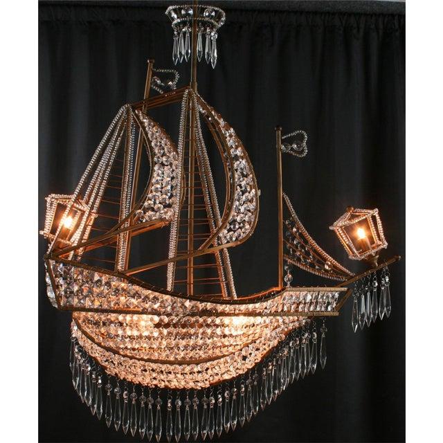 Metal New Large Sailing Ship Crystal Chandelier For Sale - Image 7 of 12