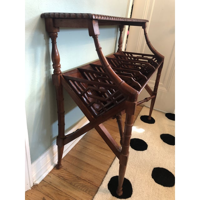 Faux Bamboo Chinoiserie Faux Bamboo Book Trough Console Table For Sale - Image 7 of 8