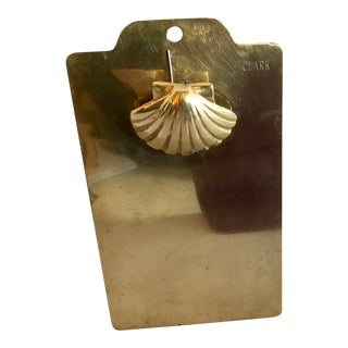 Mid-Century Modern Petite Brass Shell Clipboard For Sale