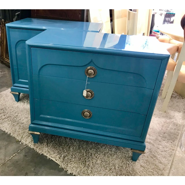 1970s Mid-Century Modern Mastercraft Sky Blue Chests - a Pair For Sale In Miami - Image 6 of 9